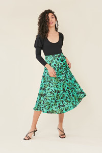 Green Satin Animal Print Midi Skirt