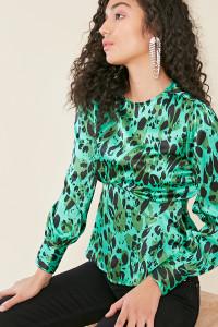 Green Satin Animal Print Long Sleeve Peplum Hem Top