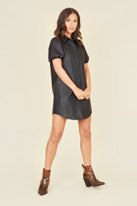 Button Down Black PU Shirt Dress with Puff Sleeves