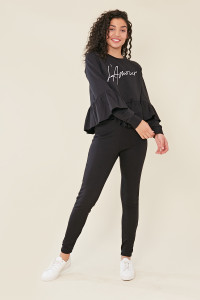 Black High Waist Jersey Slim Fit Joggers