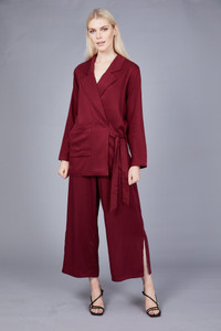 Native Youth Burgundy Lapel Collar Blazer