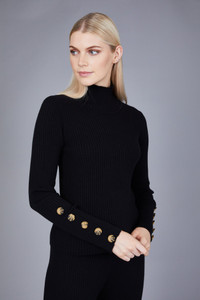 Native Youth Black High Neck Rib Knitted Top
