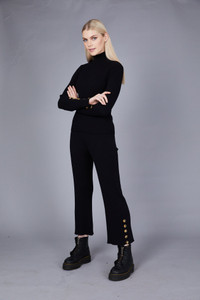 Native Youth Black High Waist Ribbed Knitted Pant