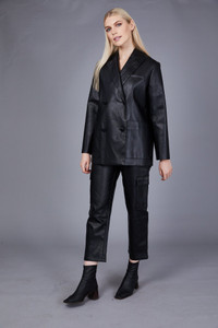 Native Youth Black High Waist Faux Leather Pant