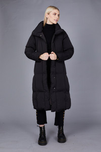 Native Youth Black Longline Puffer Jacket