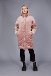 Native Youth Dusty Pink Velvet Longline Puffer Jacket
