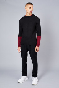Native Youth Black Fluffy Crew Neck Sweater