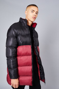 Native Youth Contrast Colour Block Longline Puffer Jacket