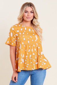 Mustard Splodge Print Tiered Smock Top