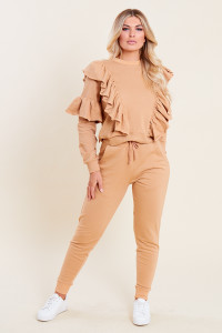 Camel Loop Back Ruffle Detail Sweater