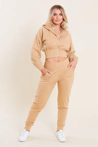 Camel Loop Back Shirred Waist and Cuffs Joggers