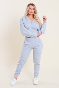 Grey Loop Back Shirred Waist and Cuffs Joggers