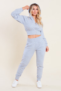 Grey Loop Back Shirred Waist Zip Through Crop Hoodie