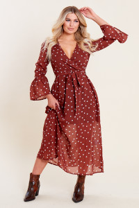 Rust Spot Print Wrap Front Belted Midaxi Dress