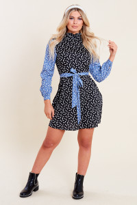 Multi Mixed Abstract Print Ruffle High Neck Belted Mini Dress