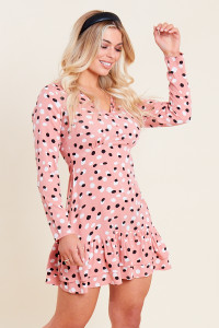 Pink Spot Print Ruffle Hem Button Front Mini Tea Dress