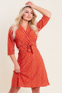 Rust Spot Print Collar Wrap Belted Mini Dress