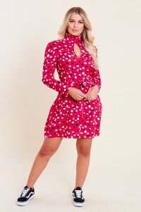 Pink Spot Print Ruffle High Neck Key Hole Belted Mini Dress