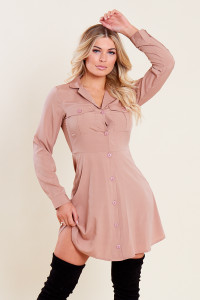 Stone Mini Shirt Dress with Patch Pockets