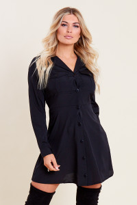 Black Mini Shirt Dress with Patch Pockets