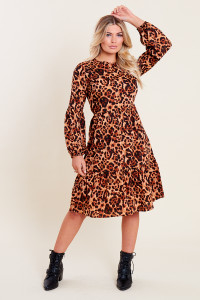 Leopard Animal Print Puff Sleeve Midi Tiered Smock Dress