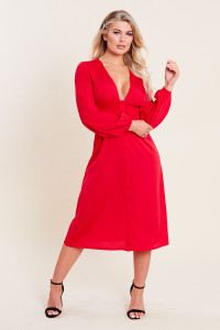 Red Shirred Waist Button Through Midi Tea Dress