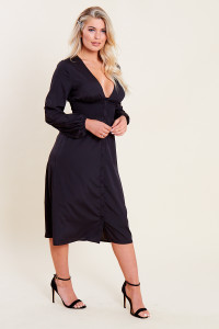 Black Shirred Waist Button Through Midi Tea Dress