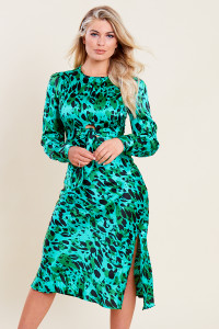Green Satin Animal Print Tie Front Detail Bias Cut Midi Dress