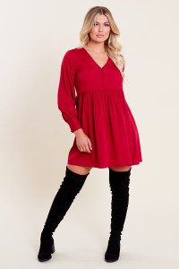 Berry Long Sleeve Button Down Smock Mini Dress