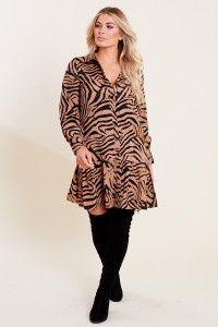 Brown Animal Print Dropped Hem Button Down Shirt Dress