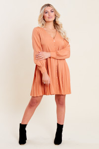 Apricot Button Down Smock Dress with Pleat Skirt
