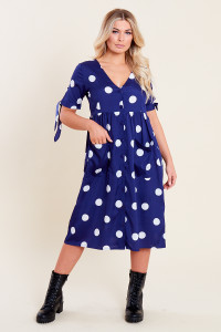 Navy White Spot Midi Smock Dress with Front Pockets