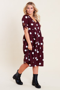Brown White Spot Midi Smock Dress with Front Pockets