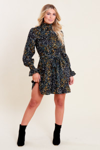 Black Spot Print Shirred High Neck and Cuff Ruffle Hem Belted Mini Dress