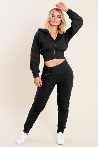 Black Loop Back Shirred Waist Zip Through Crop Hoodie