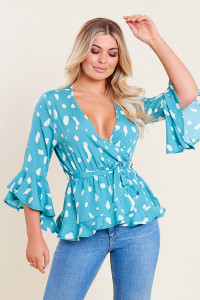 Teal Green Splodge Print Ruffle Hem Frill Sleeve Belted Wrap Top