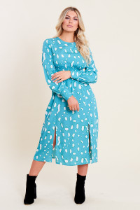 Teal Green Splodge Print Shirred Waist Split Skirt Midi Dress