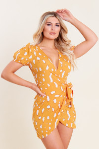 Mustard Splodge Print Mini Wrap Dress with Puff Sleeves