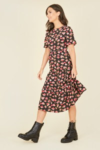 Black Floral Print Shirred Bodice Tiered Midi Smock Dress