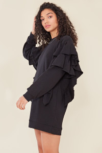 Black Double Frill Detail Sweater Dress