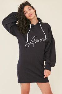Black Balloon Sleeve Hooded Sweat Dress with Slogan Front