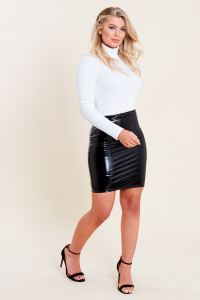 Black Vinyl PU Bodycon Skirt