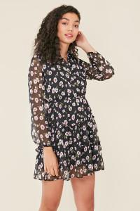 Black Daisy Print Sheer Fabric Tiered Sleeves Skater Shirt Dress