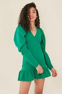 Green Plunge Neck Dropped Frill Hem Bodycon Dress