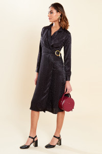 Black Satin Wrap Lapel Collar Midi Dress with Buckle Detail