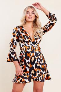 Leopard Satin Animal Print Flared Sleeve Ruffle Hem Wrap Mini Dress