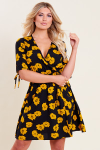Black Yellow Floral Print Wrap Tie Sleeve Skater Dress