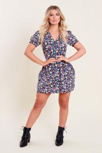 Ditsy Floral Print Button Down Skater Tea Dress