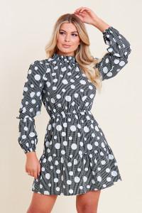 Black White Spot Balloon Sleeve Ruffle Neck Skater Dress