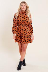 Rust Black Spot Balloon Sleeve Ruffle Neck Skater Dress